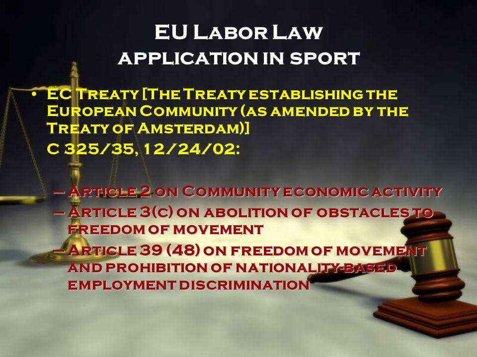 EU Labor Law application in sport