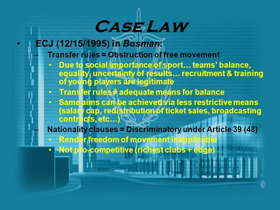 Case Law ECJ (12/15/1995) in Bosman: