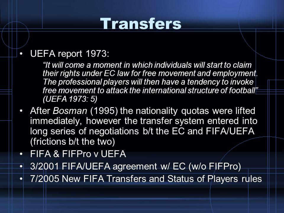 Transfers UEFA report 1973: