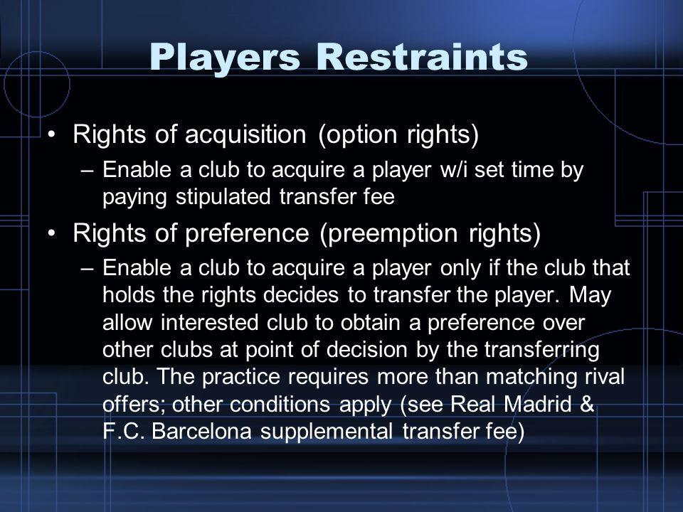 Players Restraints Rights of acquisition (option rights)
