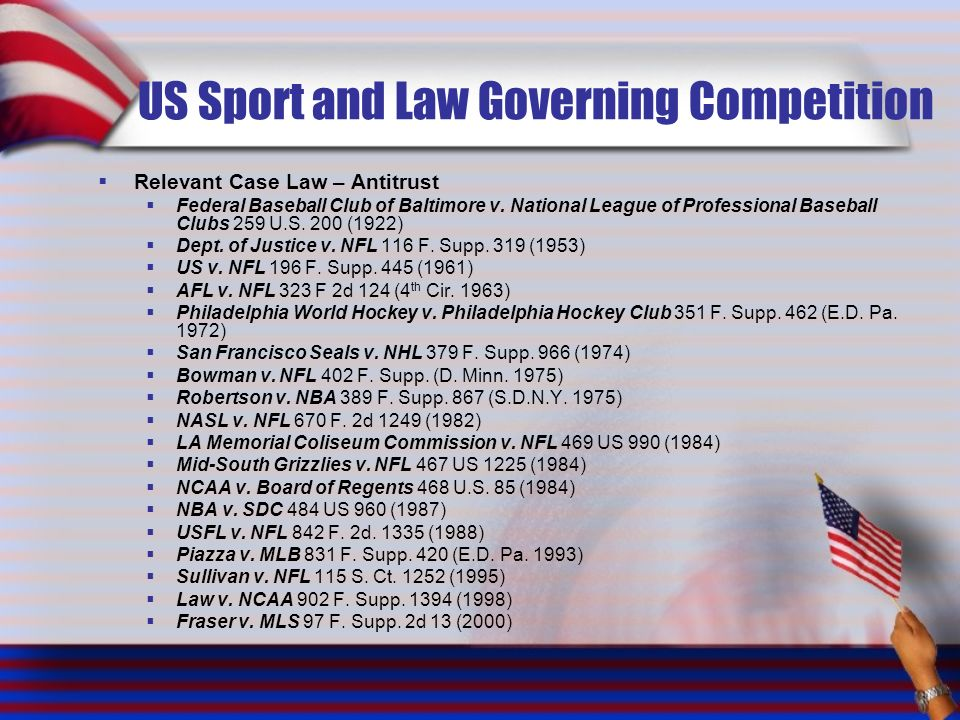US Sport and Law Governing Competition