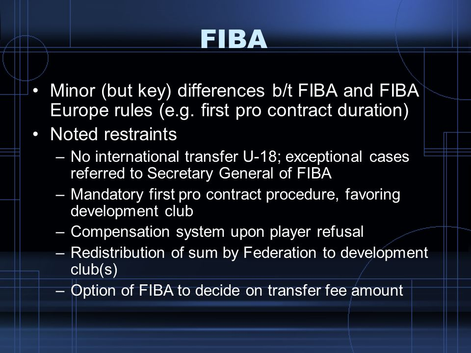 FIBA Minor (but key) differences b/t FIBA and FIBA Europe rules (e.g. first pro contract duration) Noted restraints.