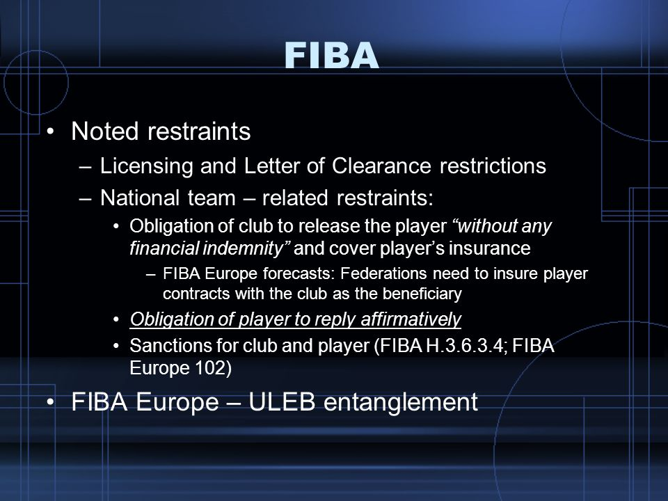 FIBA Noted restraints FIBA Europe – ULEB entanglement