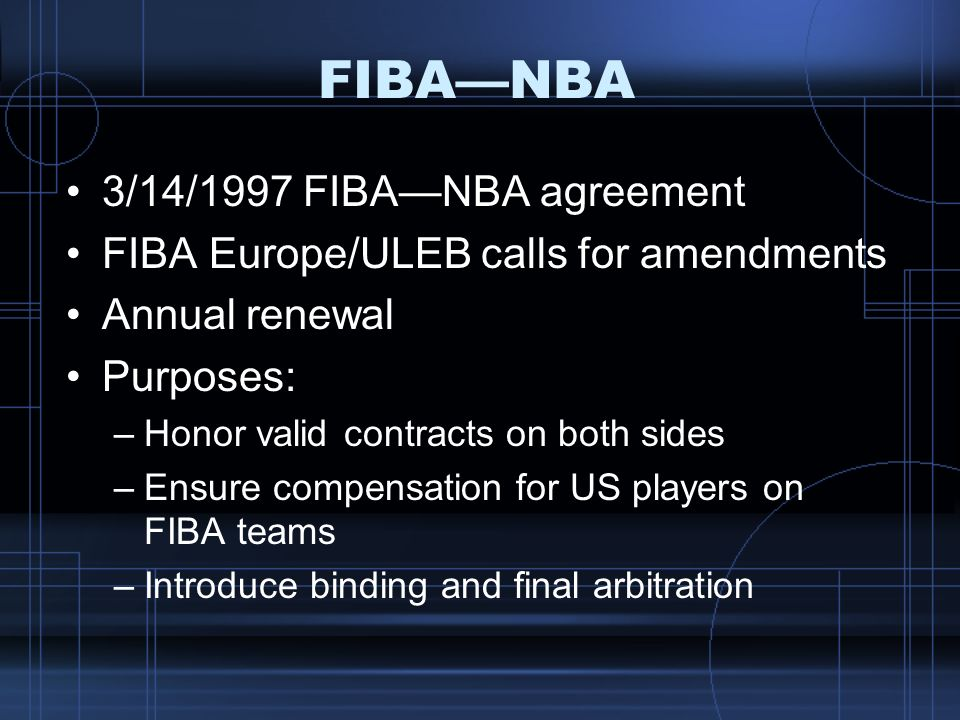 FIBA—NBA 3/14/1997 FIBA—NBA agreement