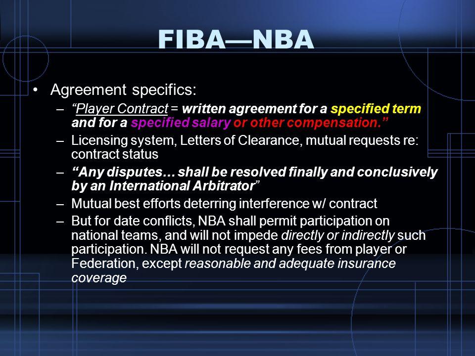 FIBA—NBA Agreement specifics: