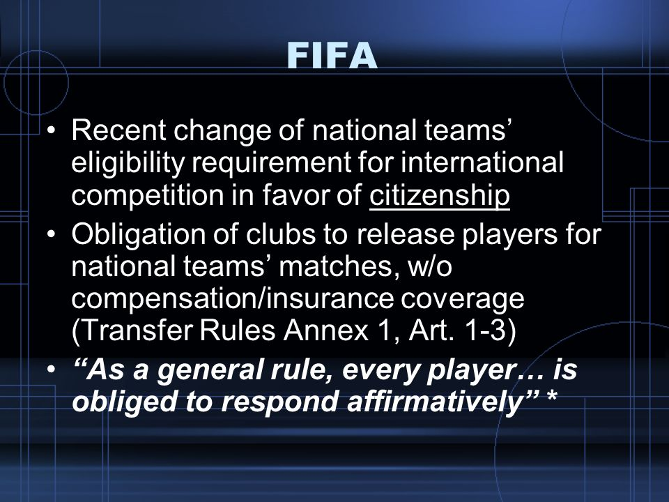 FIFA Recent change of national teams' eligibility requirement for international competition in favor of citizenship.