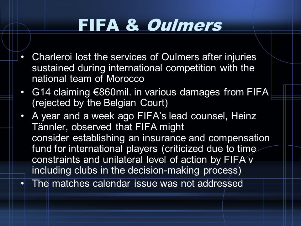 FIFA & Oulmers Charleroi lost the services of Oulmers after injuries sustained during international competition with the national team of Morocco.