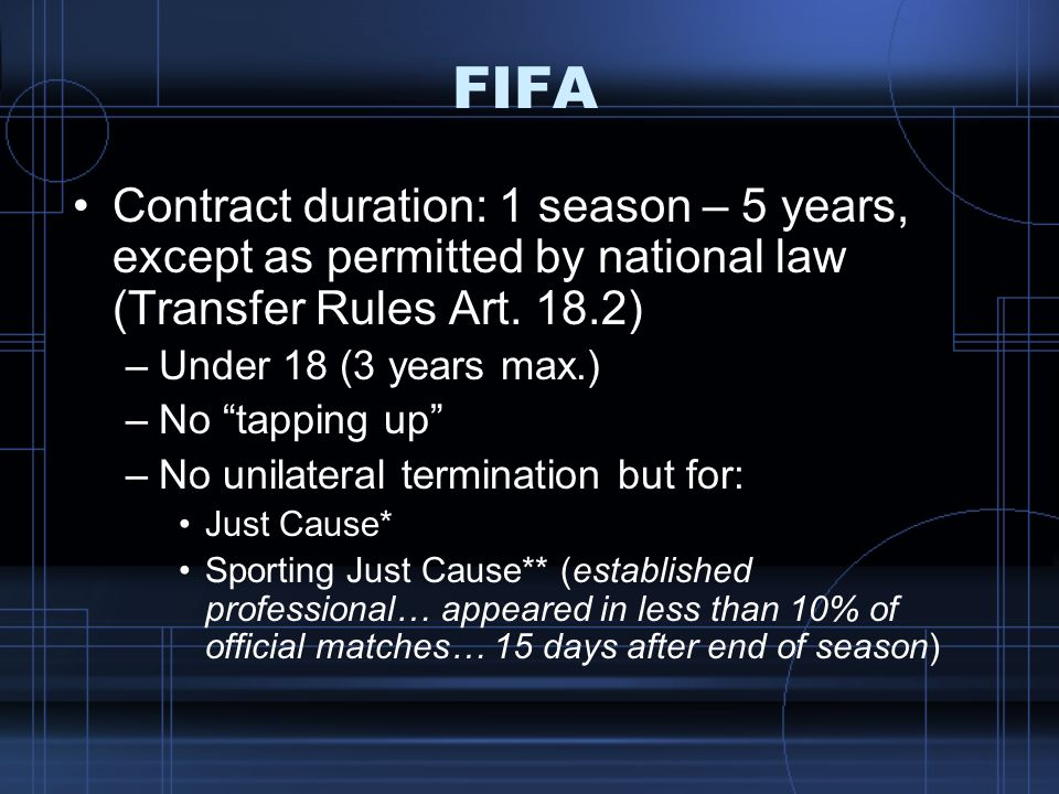 FIFA Contract duration: 1 season – 5 years, except as permitted by national law (Transfer Rules Art. 18.2)