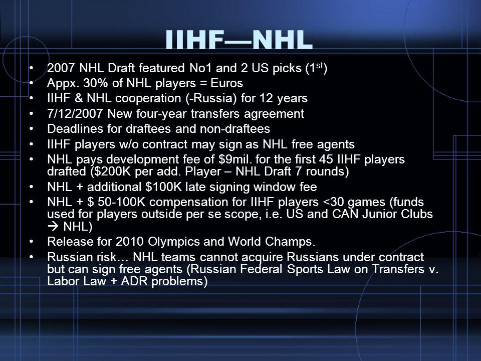 IIHF—NHL 2007 NHL Draft featured No1 and 2 US picks (1st)