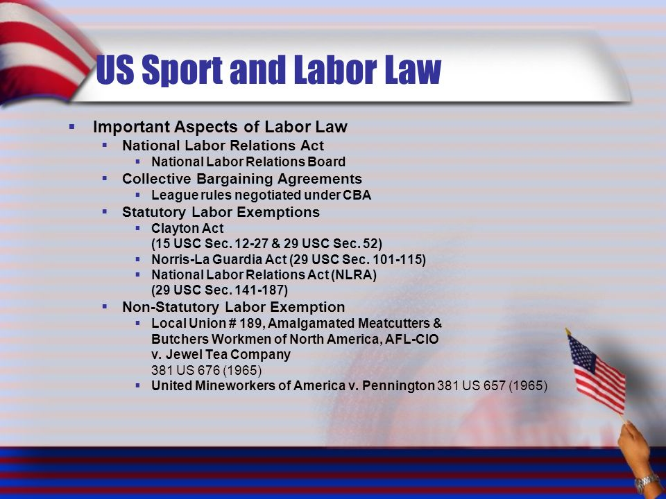 US Sport and Labor Law Important Aspects of Labor Law