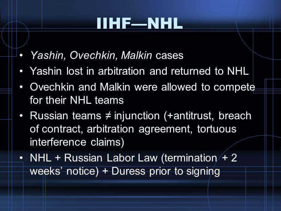 IIHF—NHL Yashin, Ovechkin, Malkin cases
