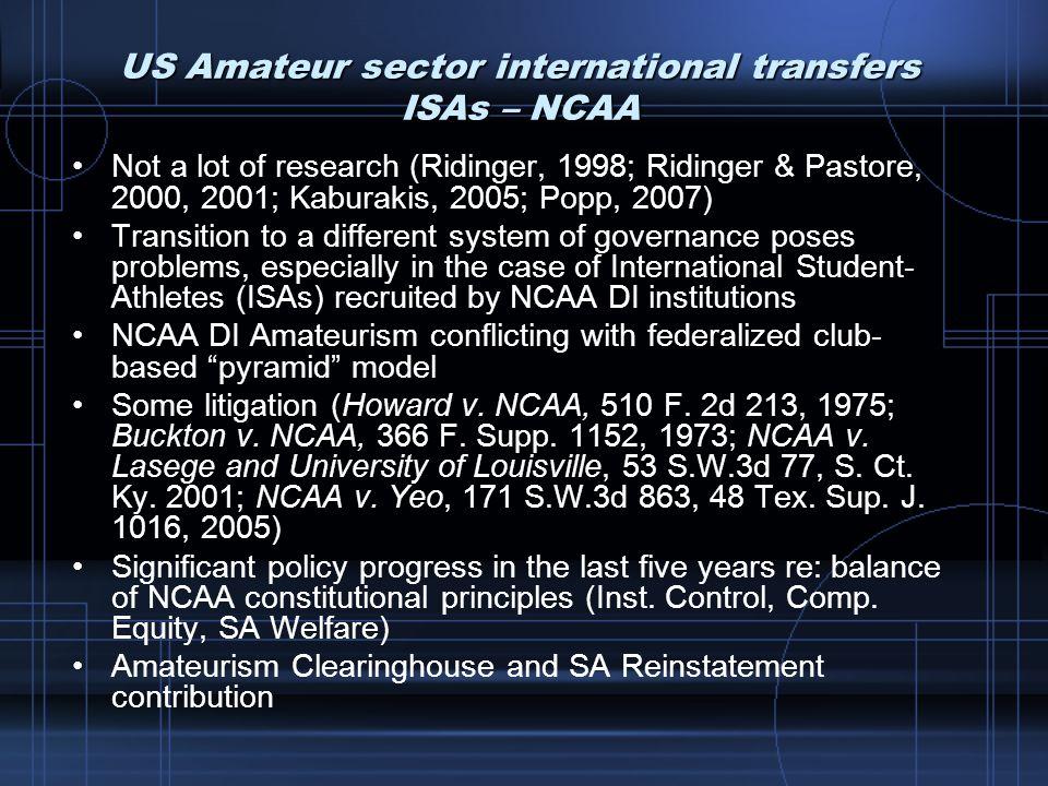 US Amateur sector international transfers ISAs – NCAA