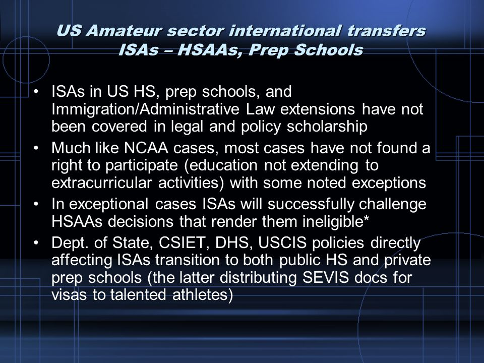 US Amateur sector international transfers ISAs – HSAAs, Prep Schools