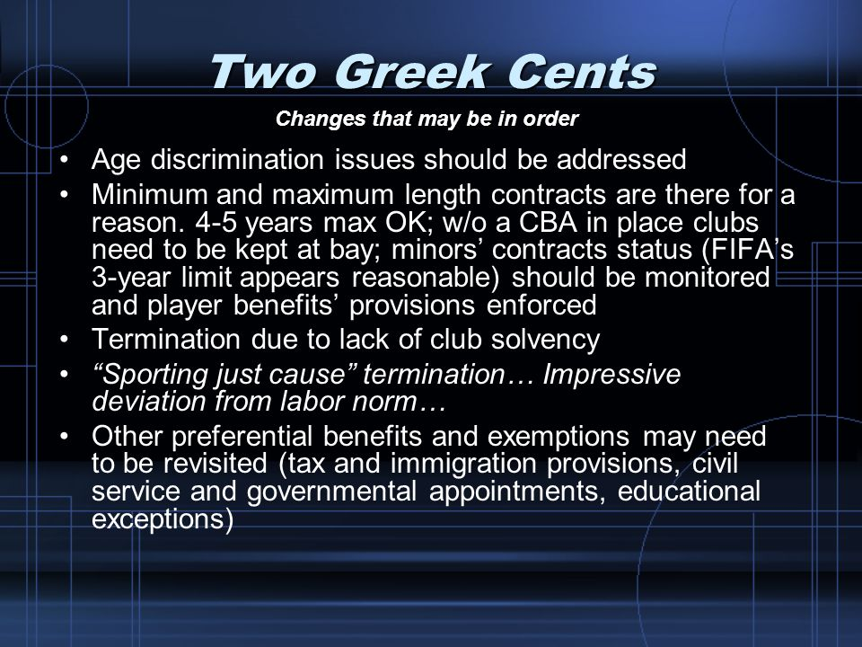Two Greek Cents Age discrimination issues should be addressed