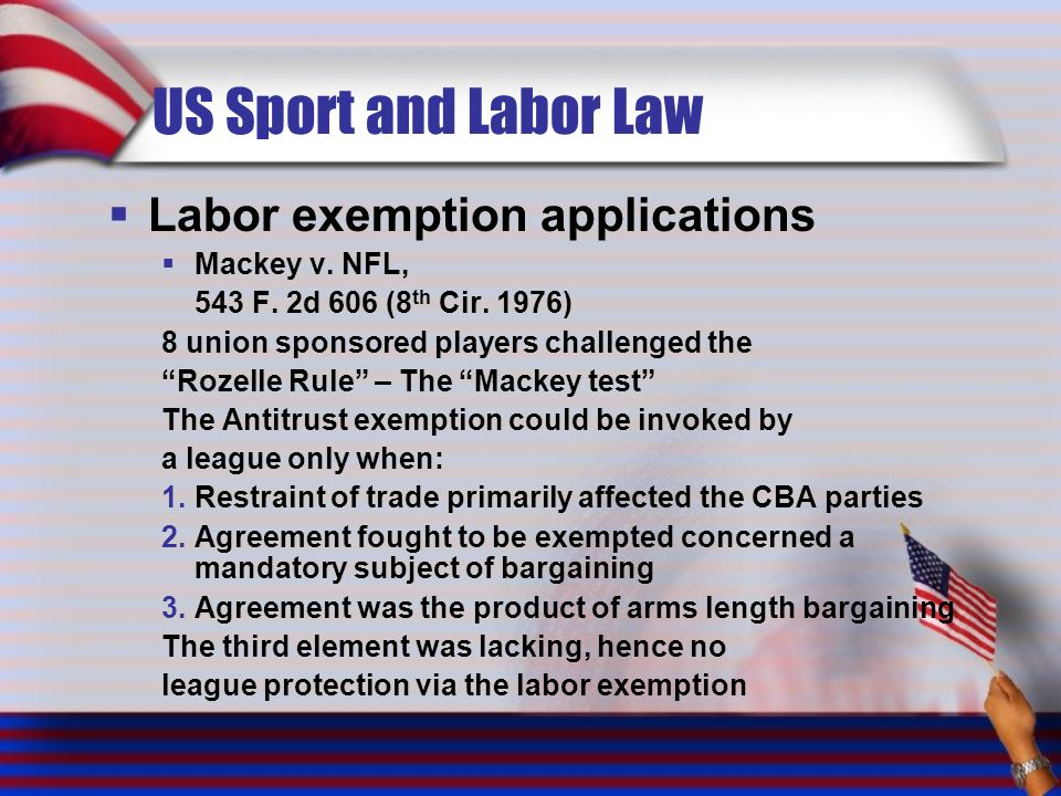 US Sport and Labor Law Labor exemption applications Mackey v. NFL,