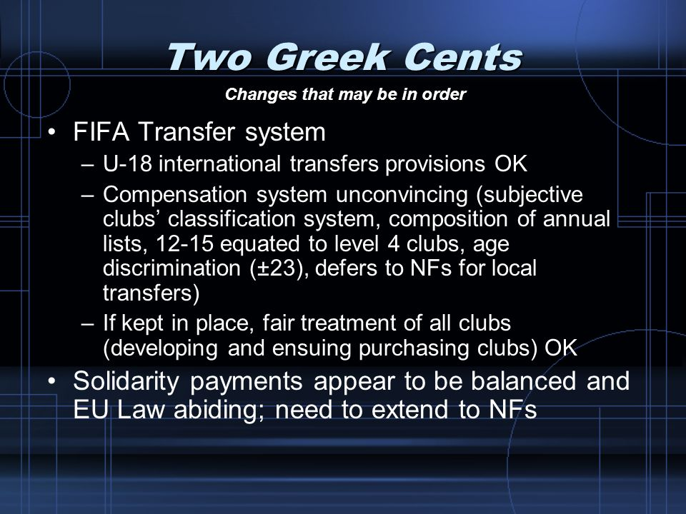 Two Greek Cents FIFA Transfer system