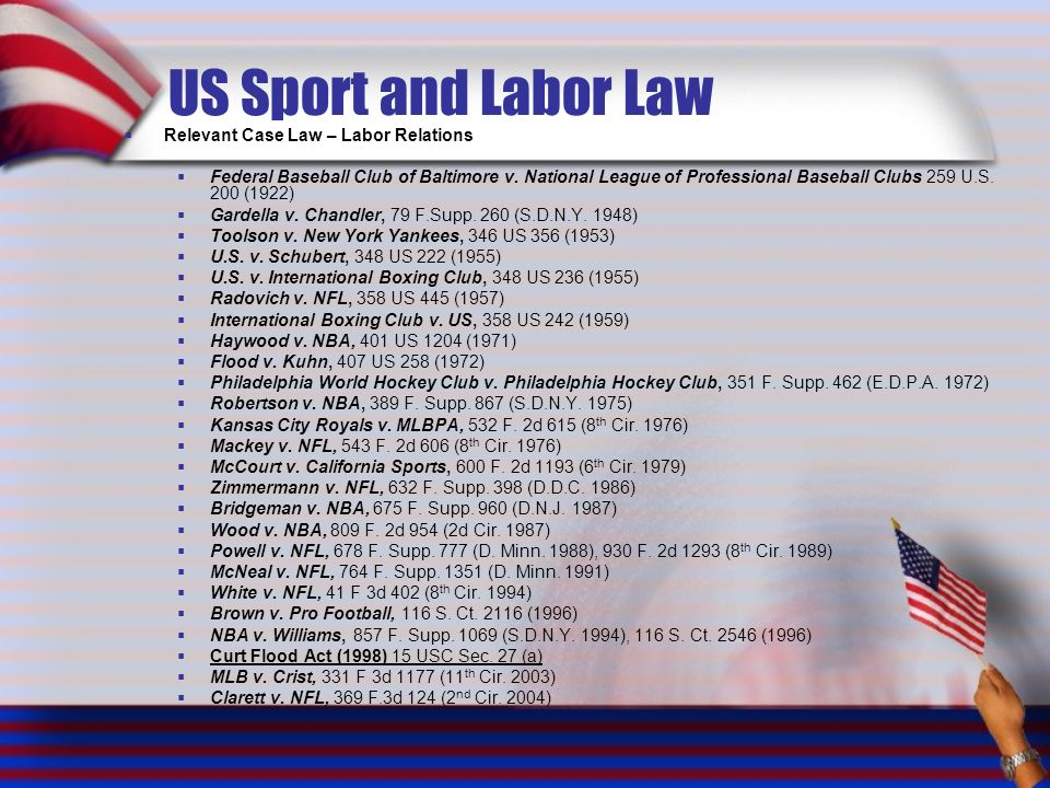 US Sport and Labor Law Relevant Case Law – Labor Relations