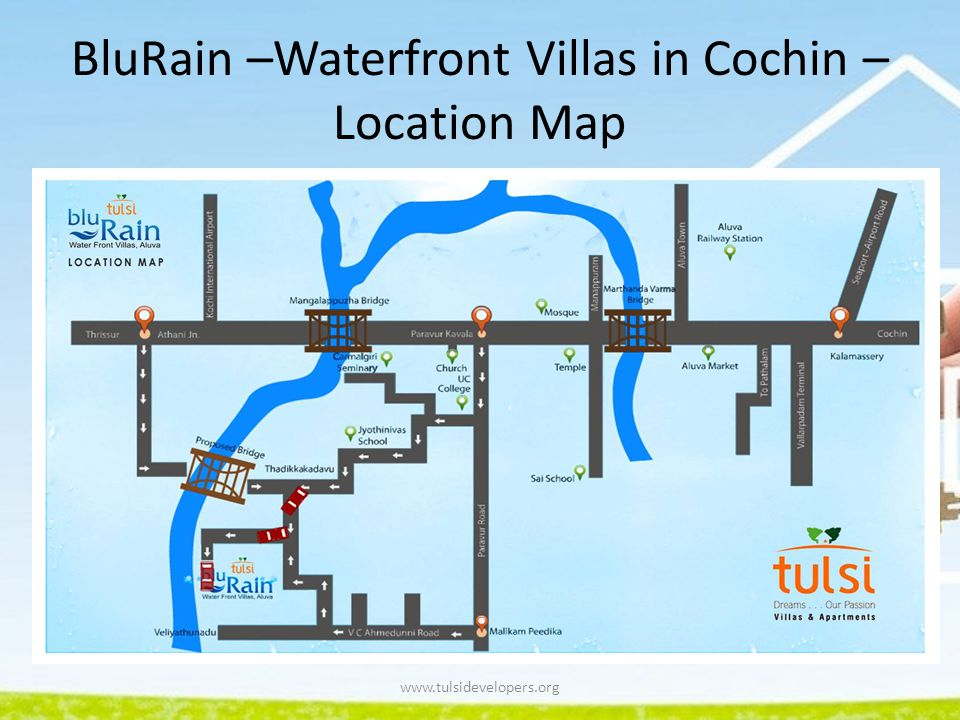BluRain –Waterfront Villas in Cochin – Location Map
