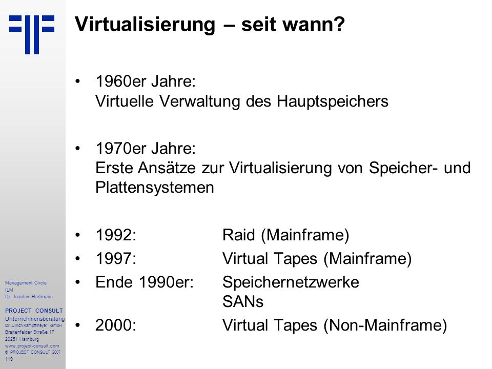 Virtualisierung – seit wann