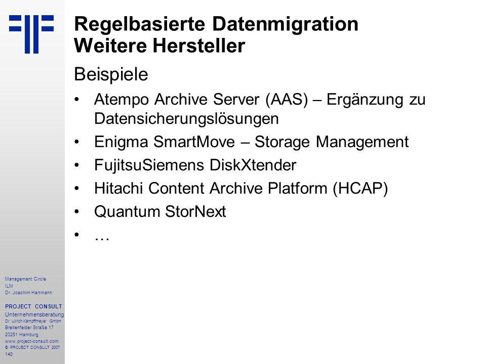 Regelbasierte Datenmigration Weitere Hersteller