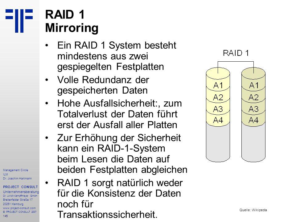 RAID 1 Mirroring Ein RAID 1 System besteht mindestens aus zwei gespiegelten Festplatten. Volle Redundanz der gespeicherten Daten.
