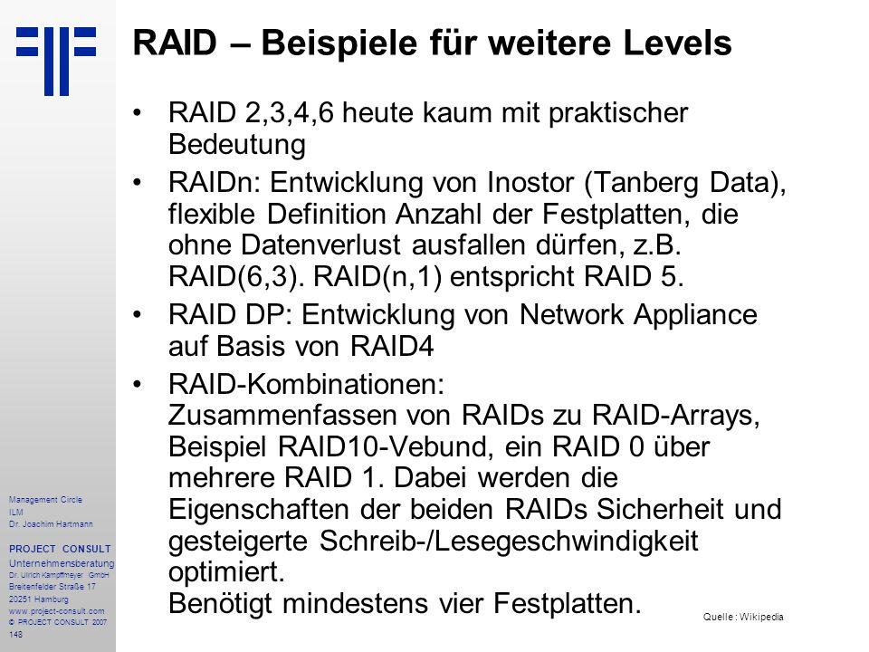 RAID – Beispiele für weitere Levels