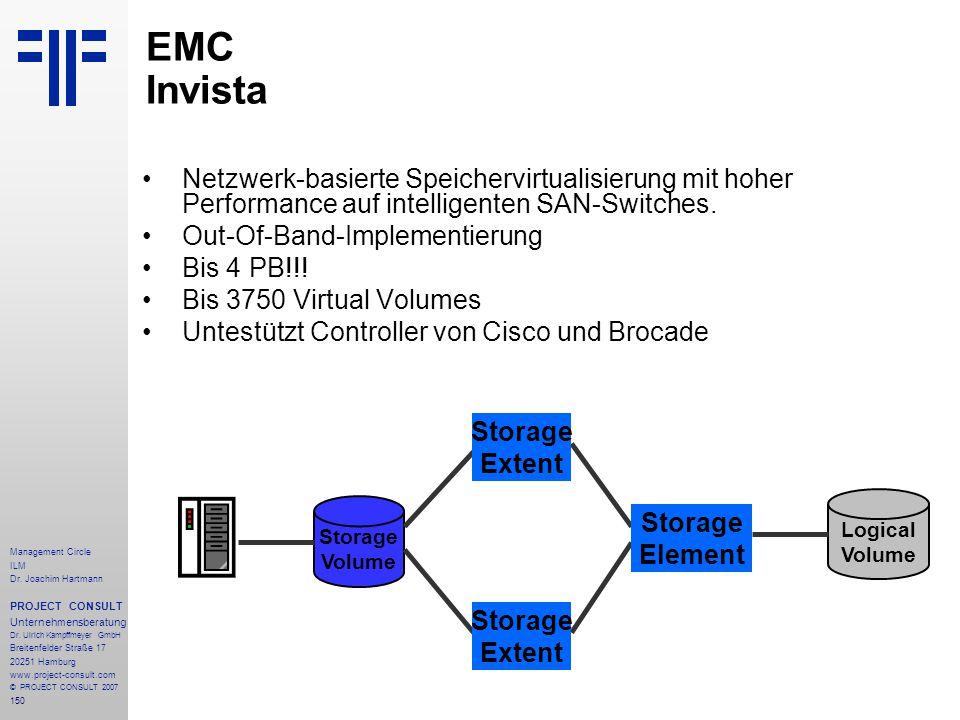 EMC Invista Netzwerk-basierte Speichervirtualisierung mit hoher Performance auf intelligenten SAN-Switches.