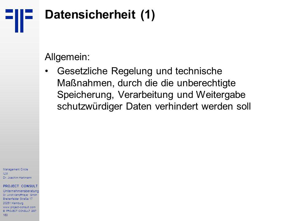 Datensicherheit (1) Allgemein: