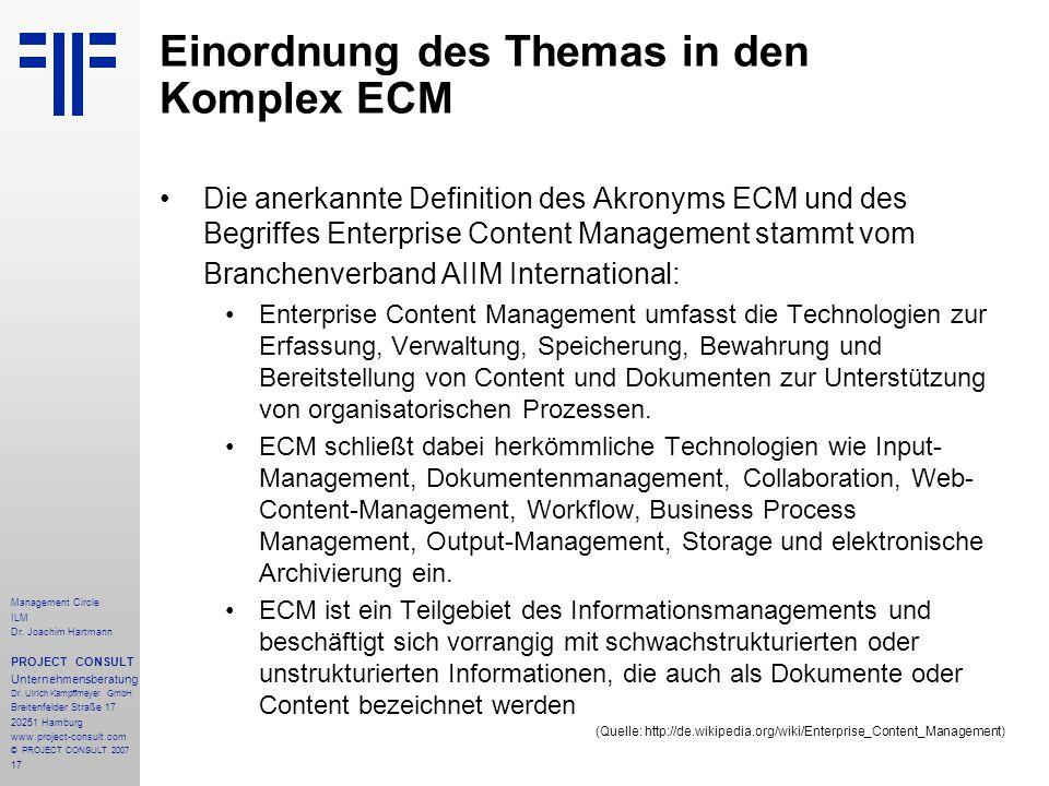 Einordnung des Themas in den Komplex ECM