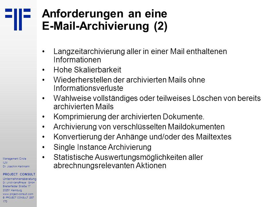 Anforderungen an eine E-Mail-Archivierung (2)