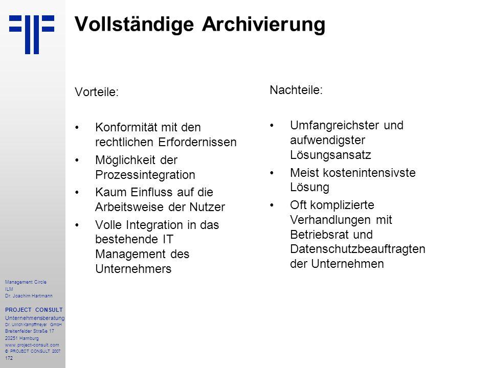 Vollständige Archivierung