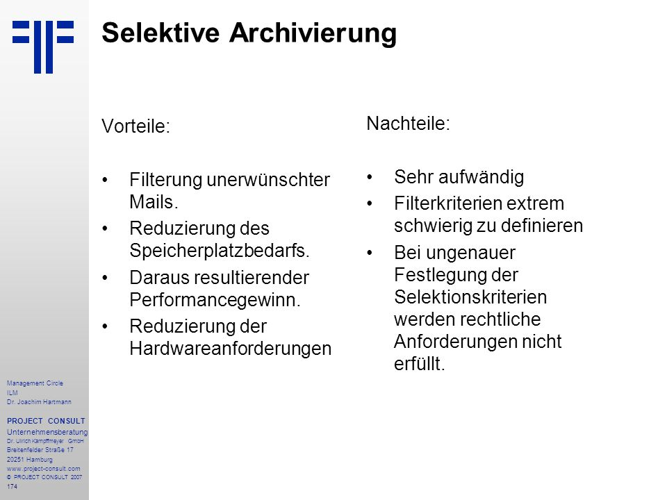 Selektive Archivierung