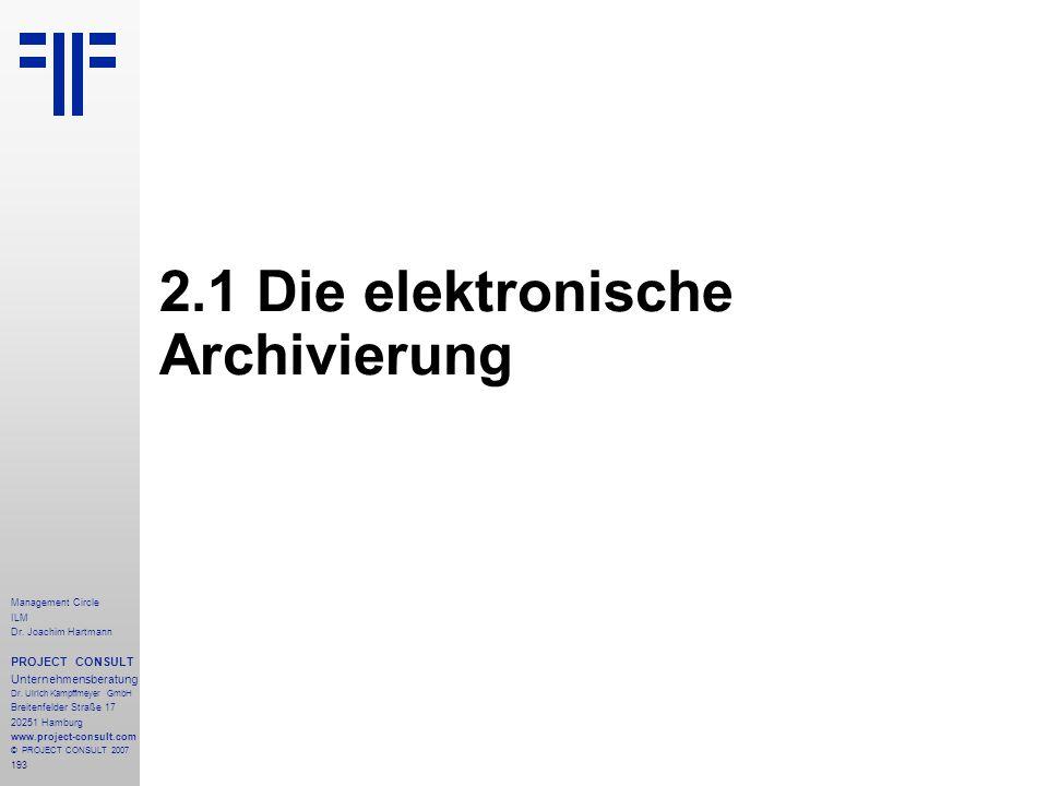2.1 Die elektronische Archivierung