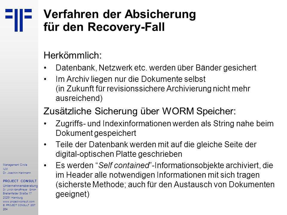Verfahren der Absicherung für den Recovery-Fall