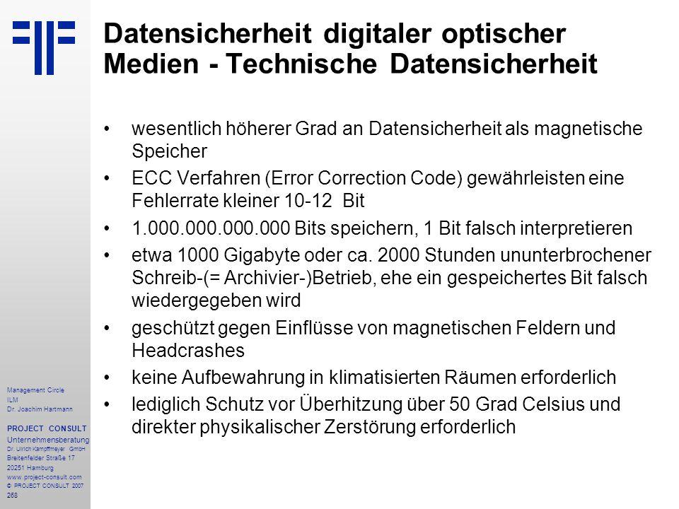 Datensicherheit digitaler optischer Medien - Technische Datensicherheit
