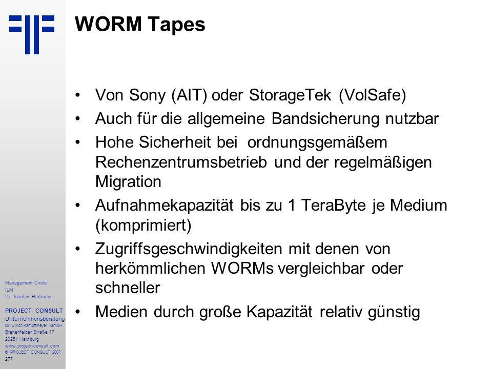 WORM Tapes Von Sony (AIT) oder StorageTek (VolSafe)