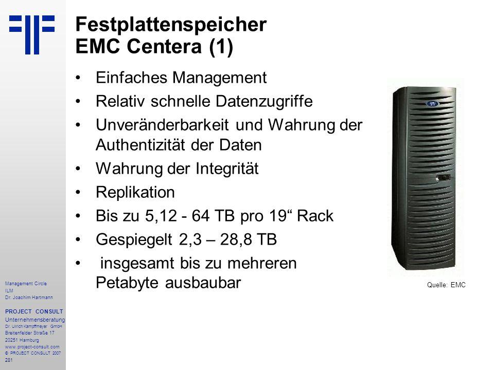 Festplattenspeicher EMC Centera (1)