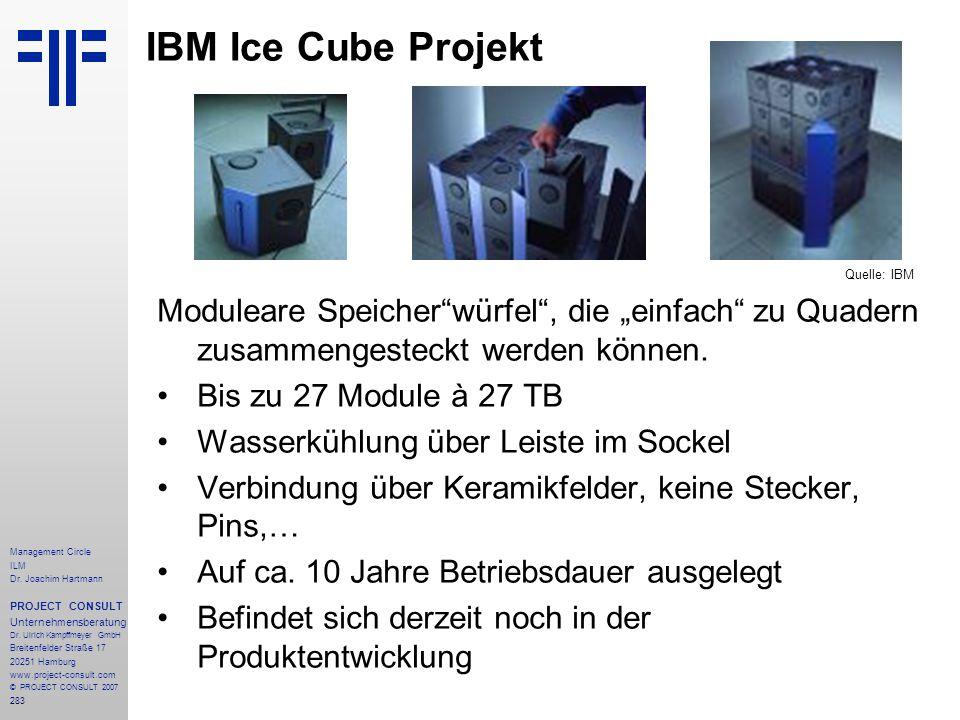 """IBM Ice Cube Projekt Quelle: IBM. Moduleare Speicher würfel , die """"einfach zu Quadern zusammengesteckt werden können."""
