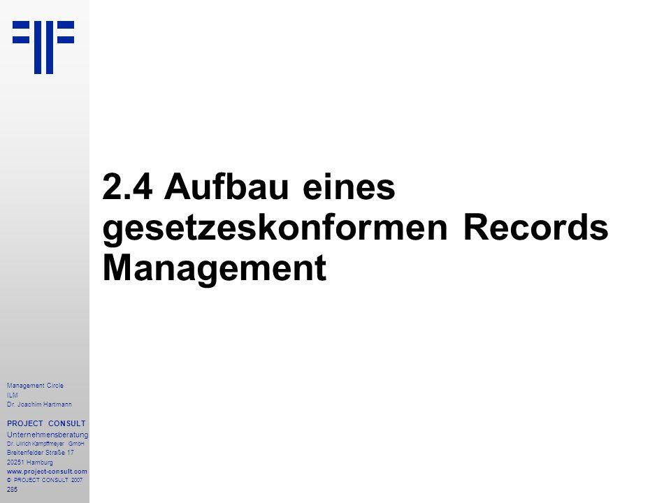 2.4 Aufbau eines gesetzeskonformen Records Management