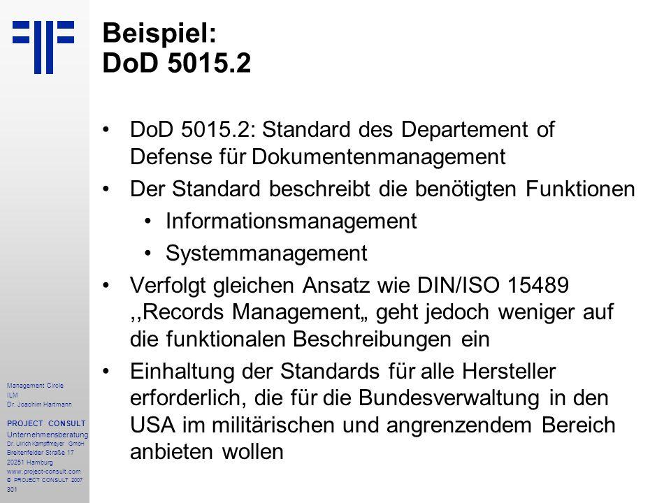 Beispiel: DoD 5015.2 DoD 5015.2: Standard des Departement of Defense für Dokumentenmanagement. Der Standard beschreibt die benötigten Funktionen.