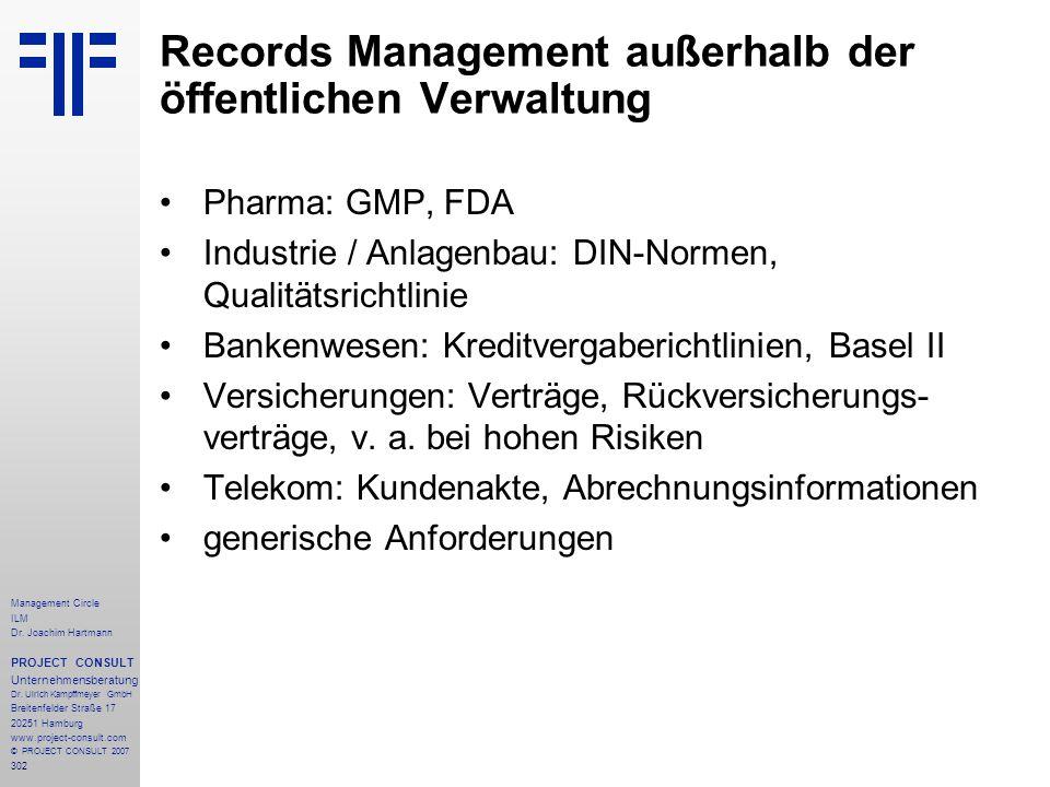 Records Management außerhalb der öffentlichen Verwaltung