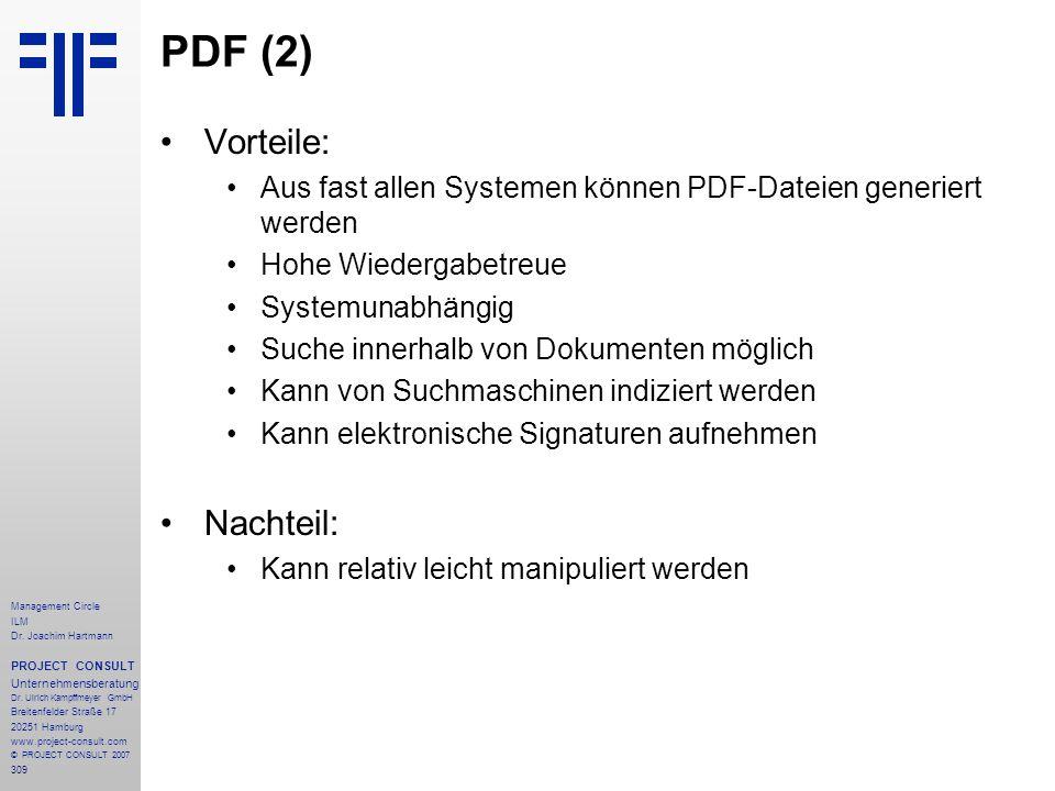 PDF (2) Vorteile: Nachteil: