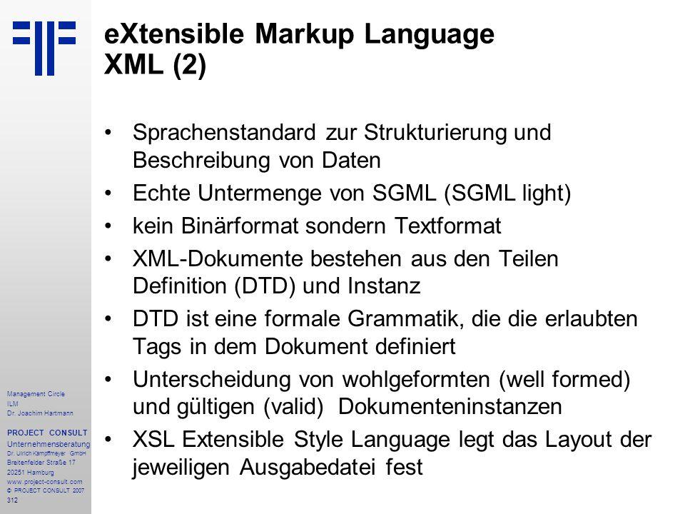 eXtensible Markup Language XML (2)