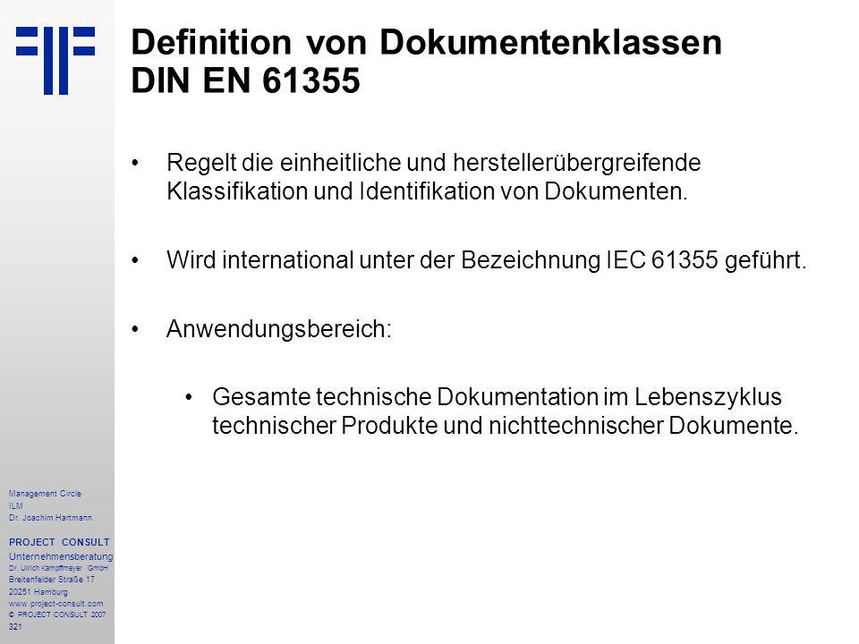 Definition von Dokumentenklassen DIN EN 61355