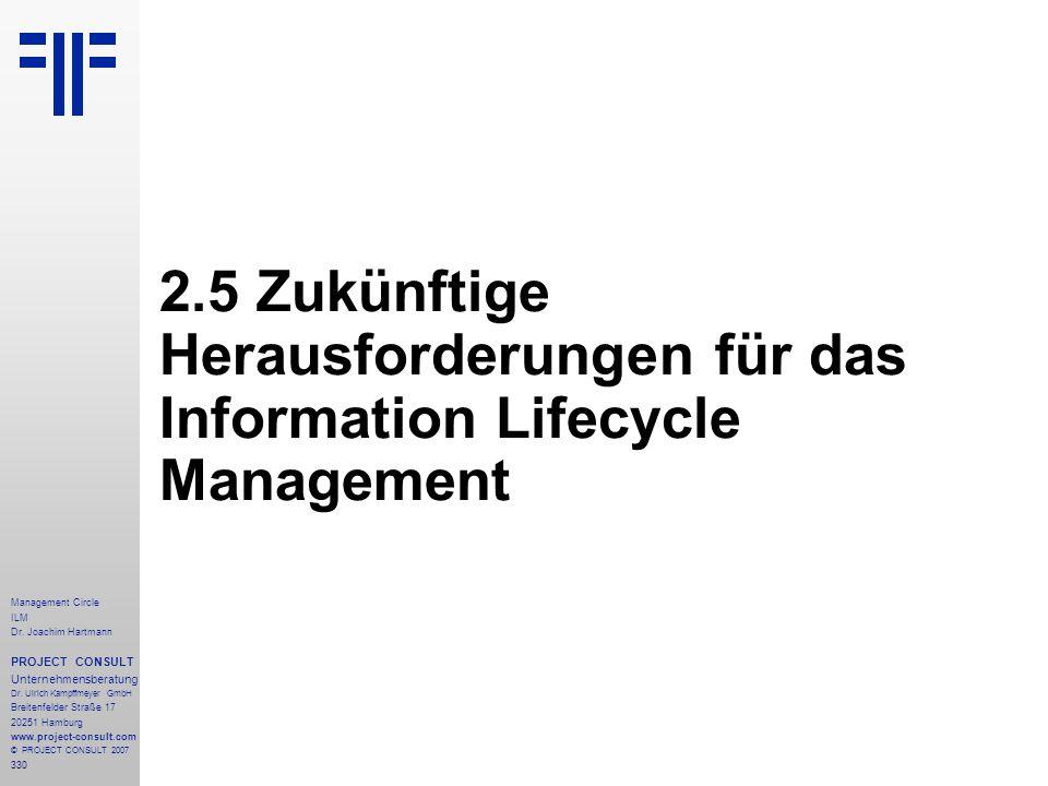 2.5 Zukünftige Herausforderungen für das Information Lifecycle Management