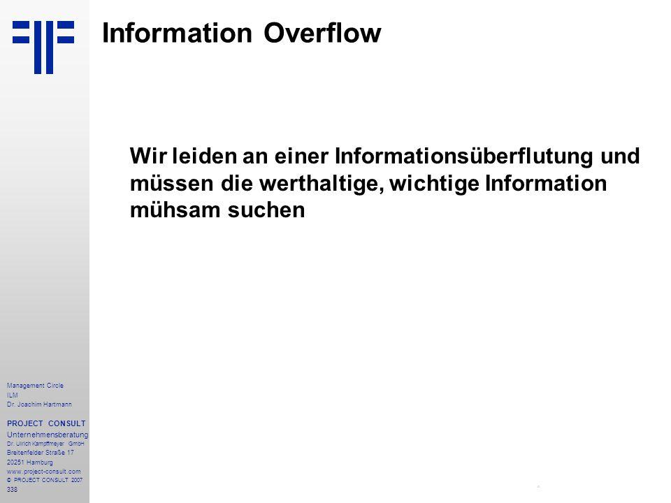 Information Overflow Wir leiden an einer Informationsüberflutung und müssen die werthaltige, wichtige Information mühsam suchen.