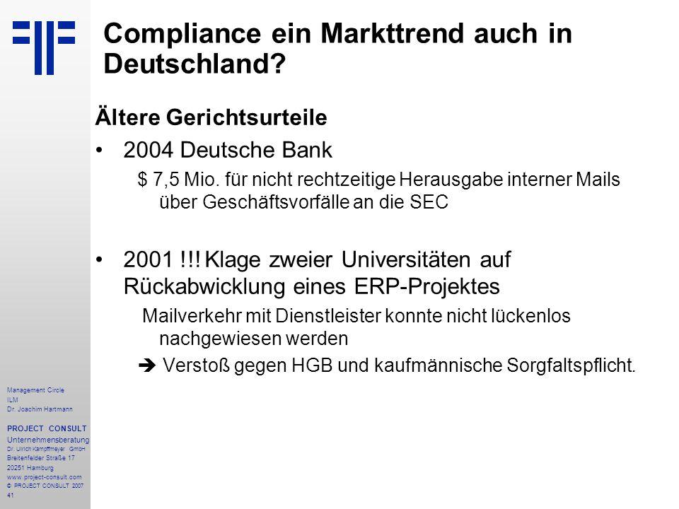 Compliance ein Markttrend auch in Deutschland