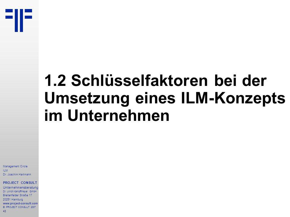 1.2 Schlüsselfaktoren bei der Umsetzung eines ILM-Konzepts im Unternehmen