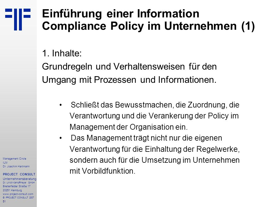 Einführung einer Information Compliance Policy im Unternehmen (1)
