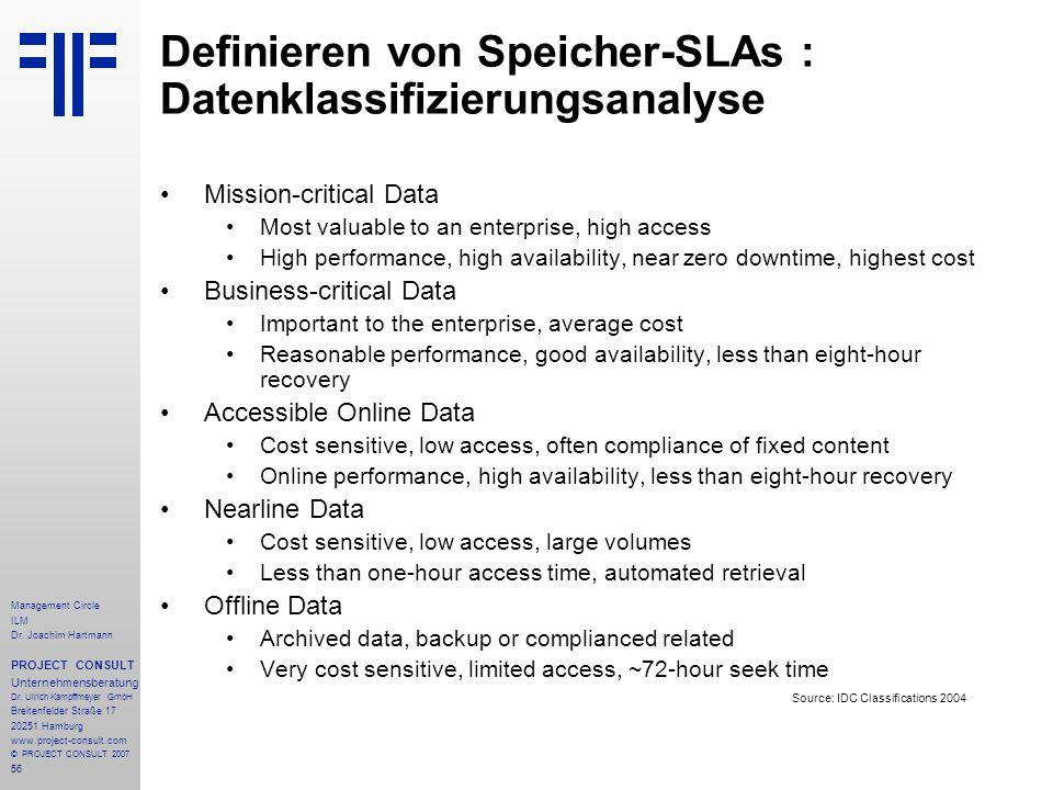 Definieren von Speicher-SLAs : Datenklassifizierungsanalyse